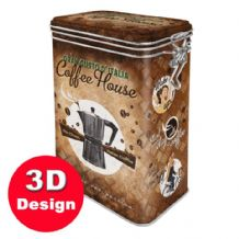 Coffee House -  Hinged Embossed Storage Tin